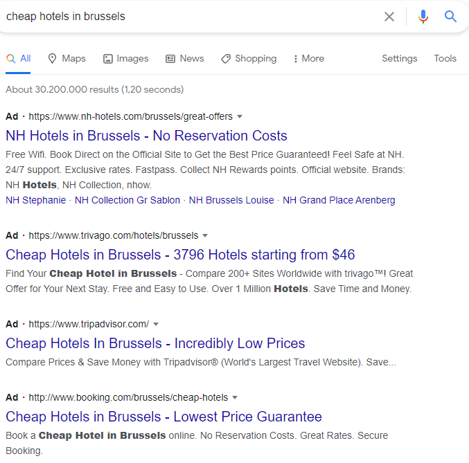 Paid vs Organic traffic - Top results usually gained by ads