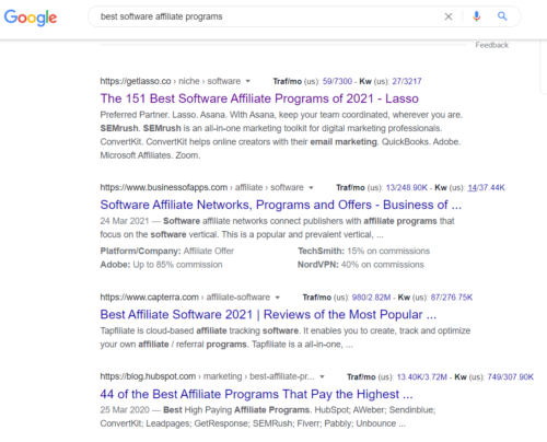 Use Google Search to get the best software affiliate programs