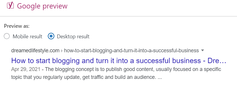 Starting a blogging business - Google snippet preview